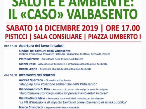 """«Salute e ambiente: il """"caso"""" Valbasento»: convegno-dibattito a Pisticci sabato 14 dicembre"""